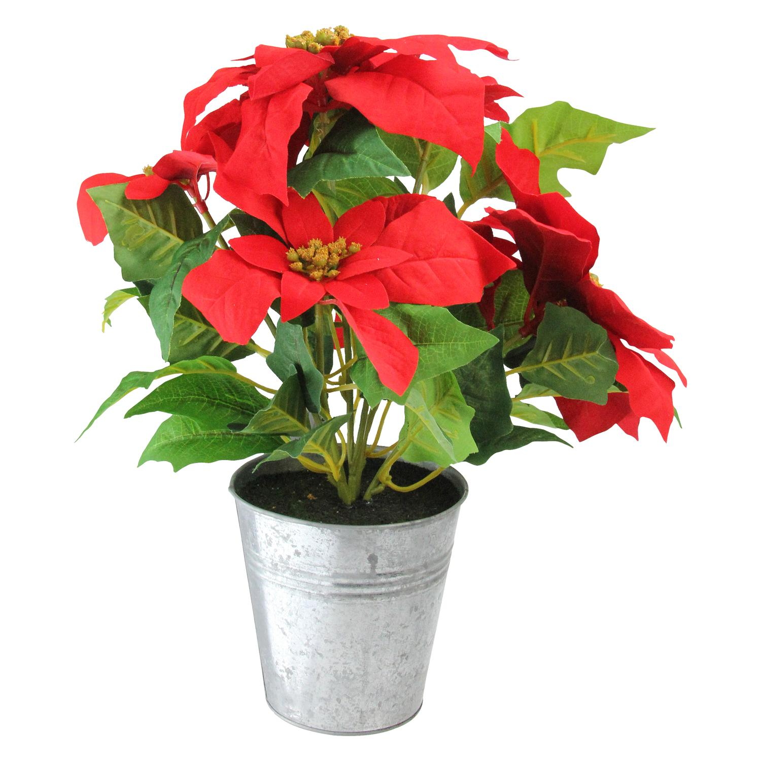 "15.5"" Artificial Poinsettia Flower in Tin Vase"