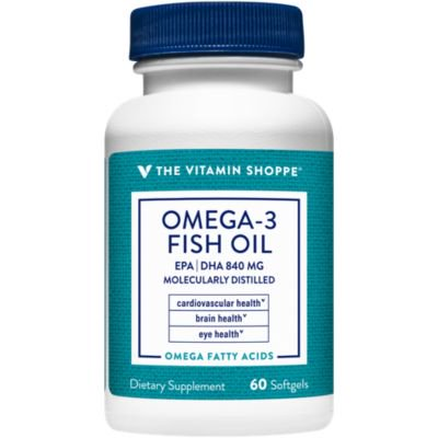 The Vitamin Shoppe Omega 3 Fish Oil 1100mg, EPA 600mg  DHA 240mg, Purity Assured, Molecularly Distilled to Support Cardiovascular, Joint and Brain Health (60 Softgels)