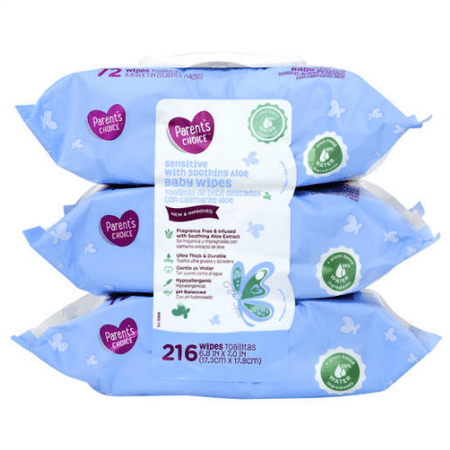 Parent's Choice Sensitive with Soothing Aloe Baby Wipes, 3 packs of 72 (216 count)