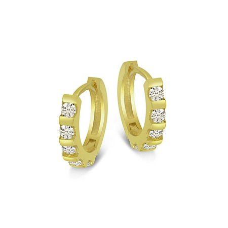 18K Yellow Gold Over Sterling Silver Bar Set Round Cut CZ Huggies Earrings