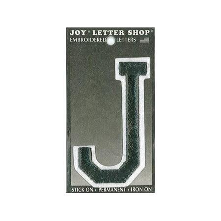 Joy applique letter iron on varsity 3quot black j walmartcom for Varsity letter applique