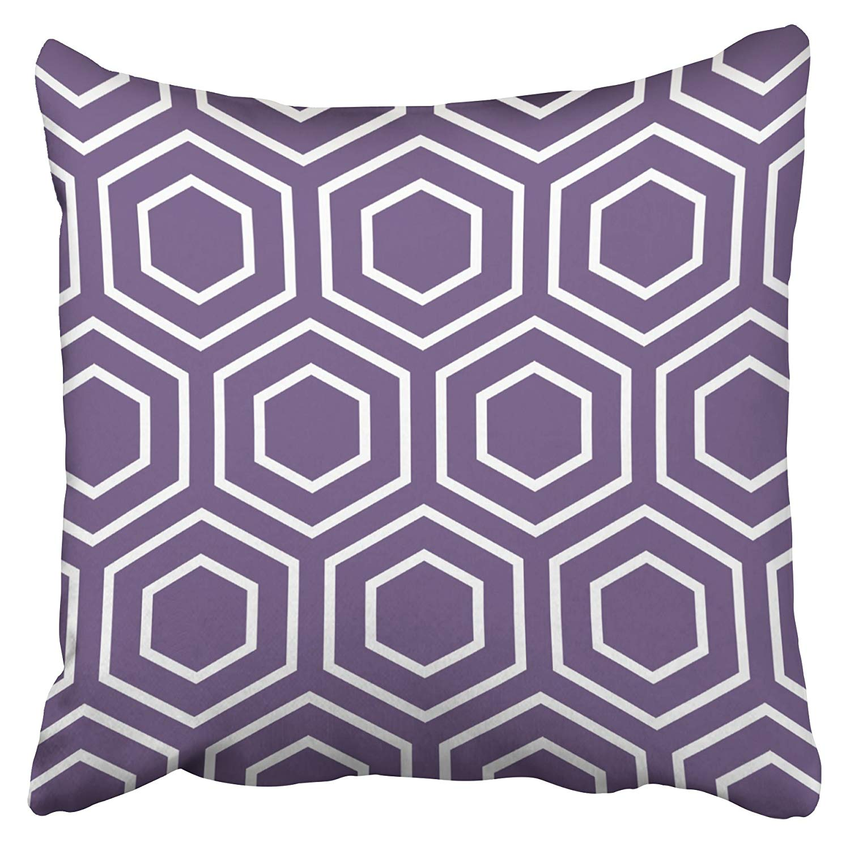 BPBOP Hex Pattern Geometric In Purple Pillowcase Cushion Cover 18x18 inch