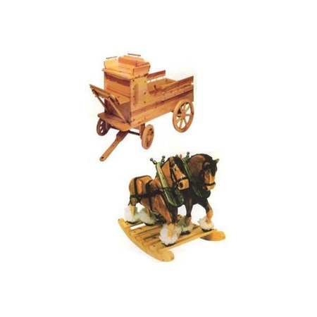 Horse Plan - Clyde 'N Dale Rocking Horses with Wagon Toy Box Woodworking Plan
