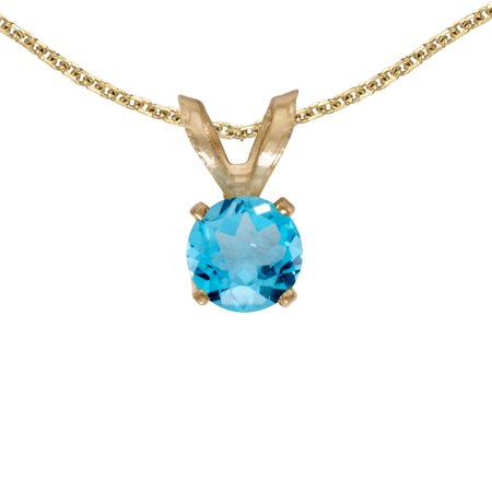 Swirl Blue Topaz Pendant (10k Yellow Gold Round Blue Topaz Pendant with 16