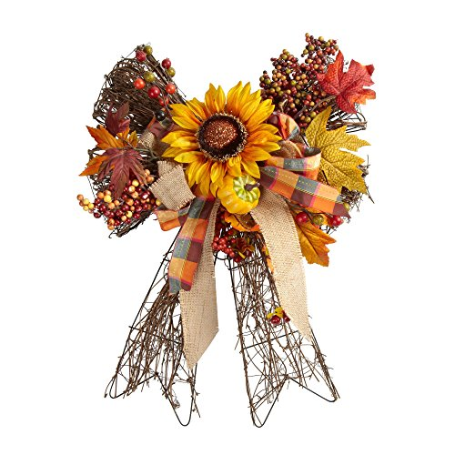Nantucket Home 22-Inch x 16-Inch Twig Bow Hanger Wreath with Sunflower (Yellow)