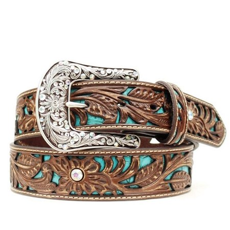 Ariat Western Belt Womens Rhinestones Turquoise Inlay Brown - Rhinestone Ladies Western Belt