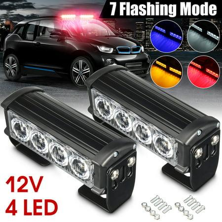 2x 12V LED Strobe Flash Flashing Hazard Grille Beacons Light Lamp Bulb Red/Blue](Red Beacon Light)