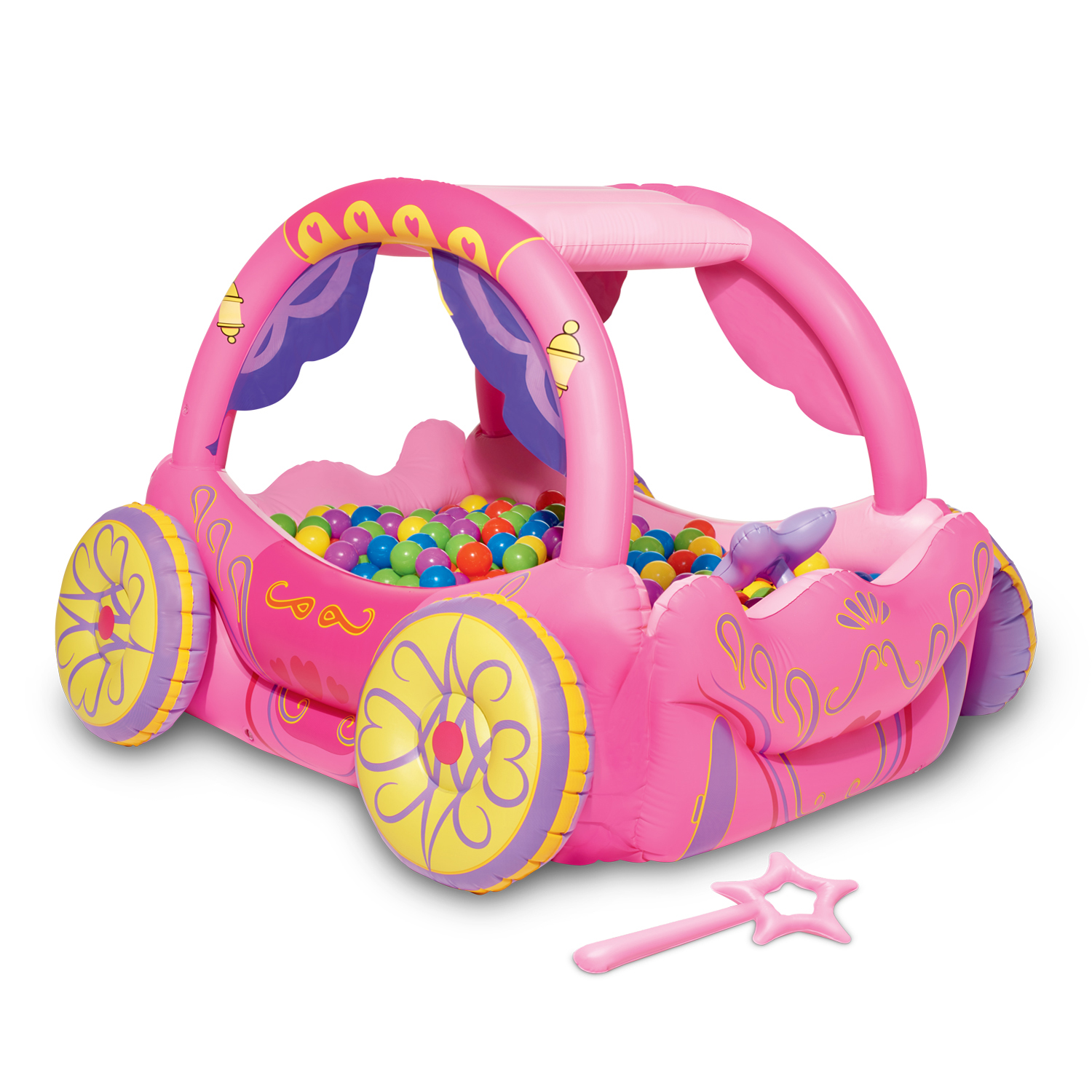Play Day Inflatable Princess Carriage Pool Playcenter, Pink ...