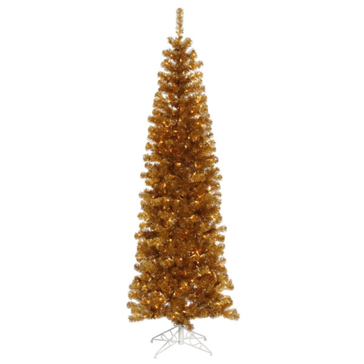 6.5' Pre-Lit Antique Gold Tinsel Pencil Artificial Christmas Tree - Clear Lights