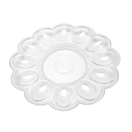 4  Egg Serving Clear Plastic Platters 9in dia. with 12 wells for deviled eggs Ceramic Egg Planter