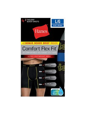 Hanes Men's Comfort Flex Fit® Breathable Mesh Boxer Briefs 4-Pack (includes 1 Free Bonus Boxer Brief)