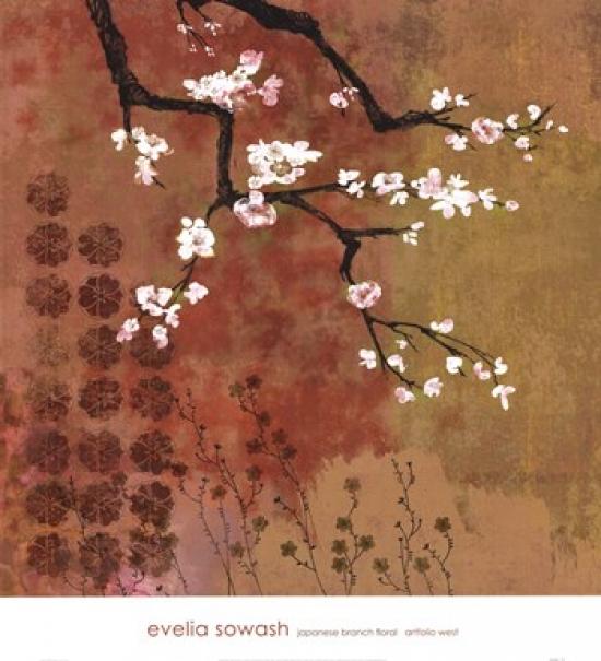 Japanese Branch Floral Poster Print by Evelia Sowash (27 x 30)