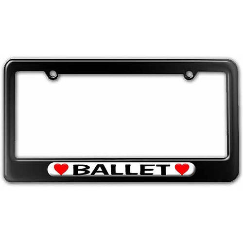 Ballet Love with Hearts License Plate Tag Frame, Multiple Colors
