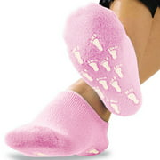 Womens Terry Gel-Lined Moisturizing Booties, One Size - Infused with Essential Oils - Gel Lining - Non-Slip Comfort Grips - Socks, Pink