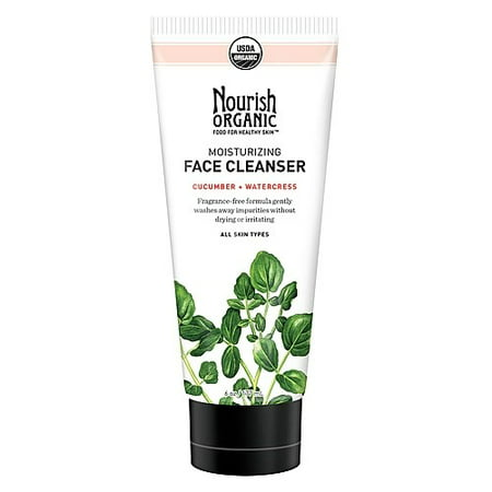 Organics Peppermint Cleanser - Nourish Organic Moisturizing Face Cleanser, Cucumber Watercress, 6 Oz