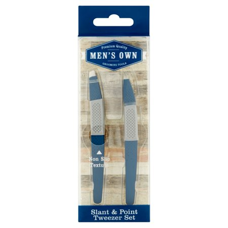 (2 Pack) Men's Own Grooming Tools Slant & Point Tweezer Set (Grooming Kit Tweezer)