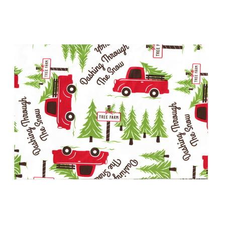 Vinyl Tablecloth, Red Truck Christmas Tree Farm Design, Eco Friendly PEVA, Flannel - Christmas Table