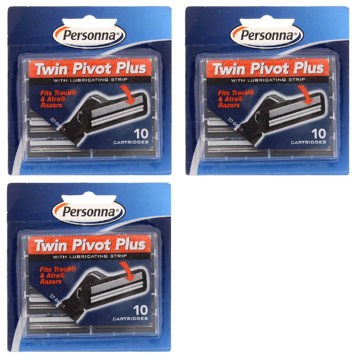 Personna Twin Pivot Plus Refill Blade Cartridges w/ Lubricating Strip for Atra & Trac II Razors 10 ct. (Pack of 3) + Old Spice Deadlock Spiking Glue, Travel Size, .84 Oz
