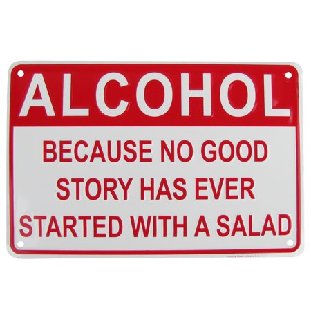 Alcohol Salad Funny Embossed Aluminum Sign Novelty US Made Bar Pub Wall Decor