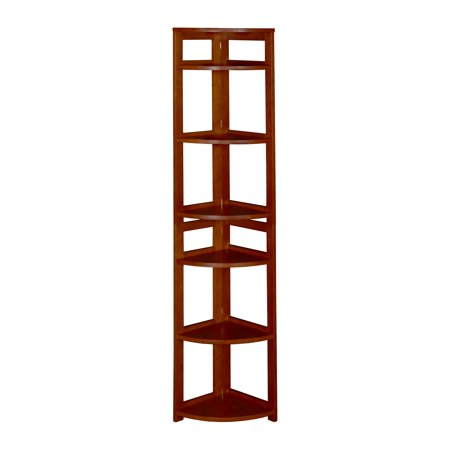 "Regency Seating 67"" 6-Shelf High Corner Folding Bookcase- Cherry"