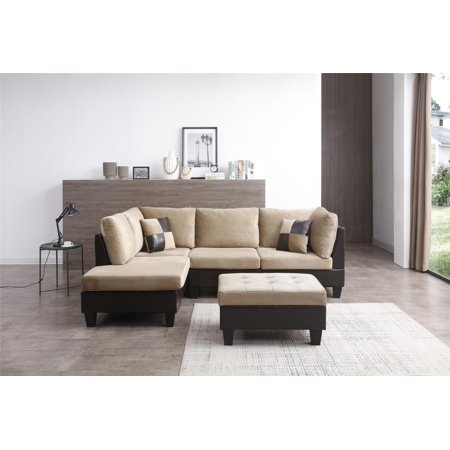 Nathaniel Home Bonded Leather Champion Sectional Set with Ottoman, Multiple
