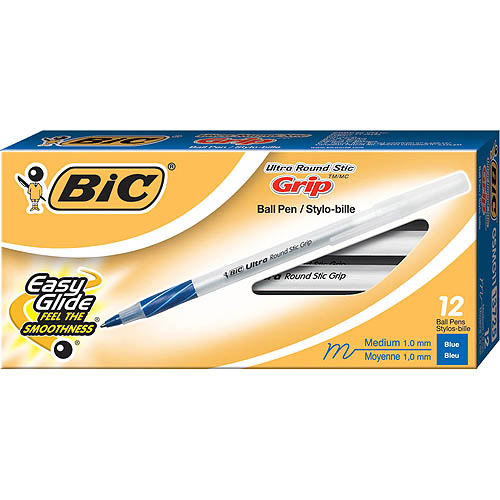 BIC Ultra Round Stic Grip Ball Pen, Medium Point, Blue, 1-Dozen