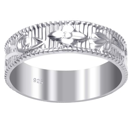 Orchid Jewelry Mfg Inc 925 Sterling Silver Comfirt Fit Textured & Carved Unique Wedding Band Ring