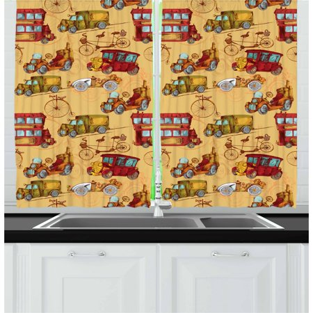 Designer Inspired Olive (Cars Curtains 2 Panels Set, Steampunk Inspired Vintage Means of Transportation Colorful Retro Design, Window Drapes for Living Room Bedroom, 55W X 39L Inches, Mustard Red Olive Green, by Ambesonne)