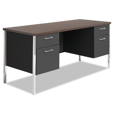 Alera Double Pedestal Steel Credenza, 60w x 24d x 29-1/2h, Walnut/Black Alera Double Pedestal Steel Desk
