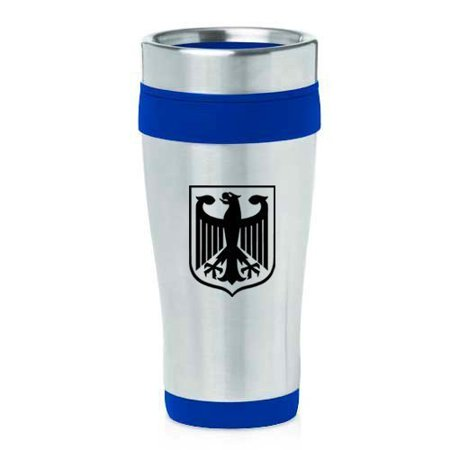 German Eagle Coat Of Arms - 16oz Insulated Stainless Steel Travel Mug Coat of Arms Germany Eagle (Blue),MIP