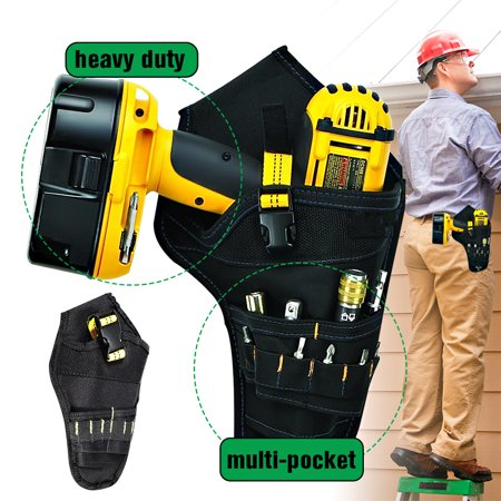 Kadell Drill Holster, Cordless Impact Driver Drill Holder, Multi-functional Electric Tool Pouch Bag for Wrench, Hammer, Screwdriver, Fits Most T Handle Drills