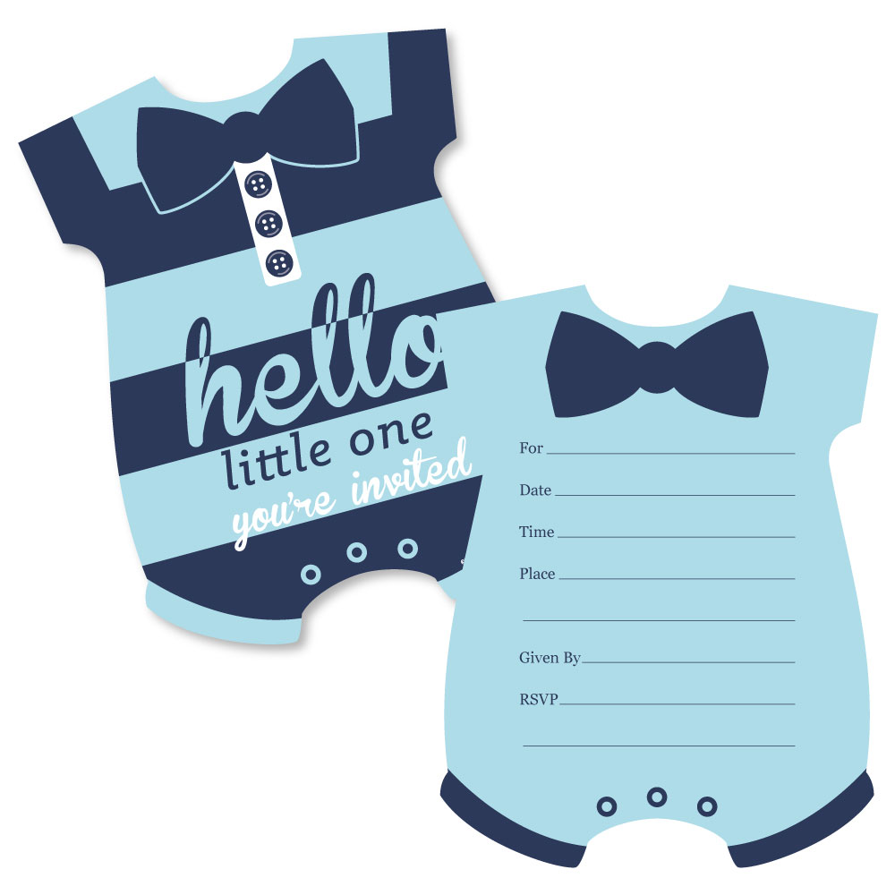 Hello Little One - Blue and Navy - Shaped Fill-In Invitations - Boy Baby Shower Invitation Cards with Envelopes - 12 Ct