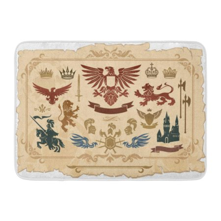 GODPOK Castle Knight Heraldic of Lions Eagles Crowns and Shields Drawings Horse Vintage Rug Doormat Bath Mat 23.6x15.7 inch (Lion And Shield)