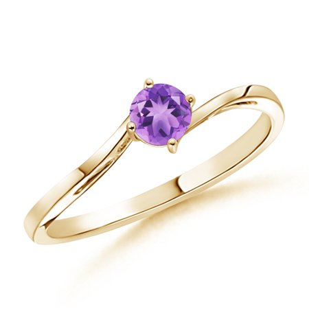 February Birthstone Ring - Classic Round Amethyst Solitaire Bypass Ring in 14K Yellow Gold (4mm Amethyst) - SR0163AM-YG-A-4-4.5