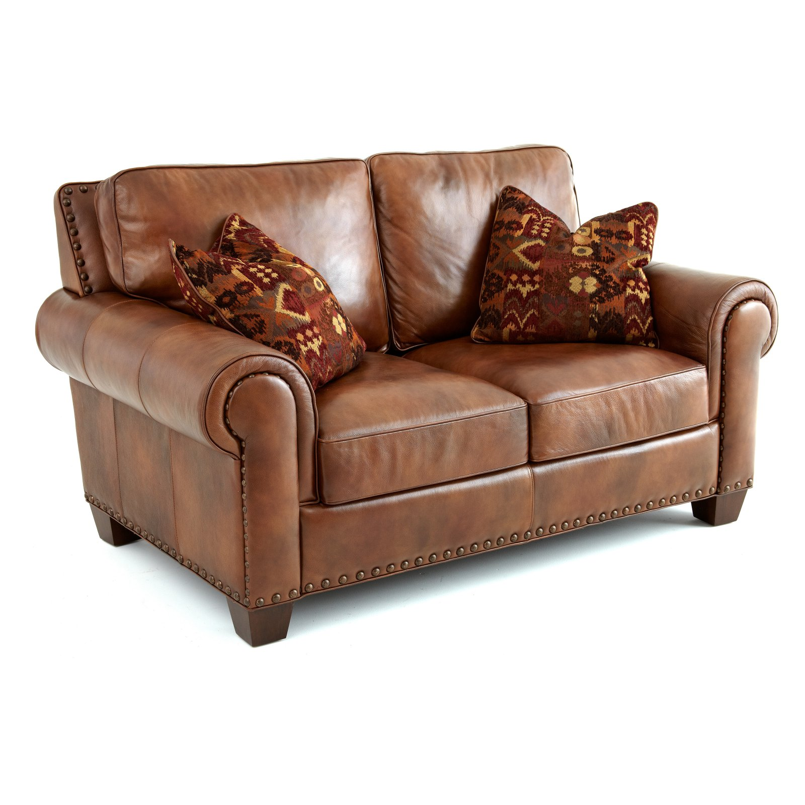 Leather Sofa For Accent Pillows: Steve Silver Silverado Leather Loveseat With 2 Accent