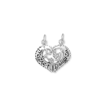 Heart Shape Mother and Daughter Break Apart Charm Sterling Silver
