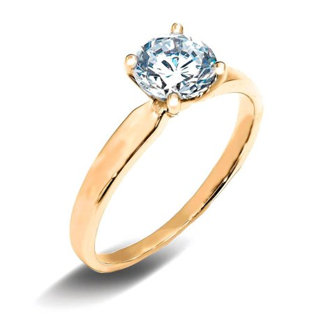 14K Solid Yellow Gold 1 Ct. Round Cut Solitaire CZ Engagement Ring