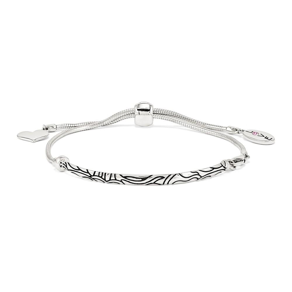 925 Sterling Silver Reflections Crystal Love Heart Adj. Bracelet