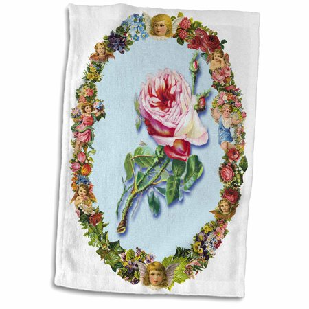 Pink Cherub (3dRose Pretty Pink English Rose in a Victorian Frame of Flowers and Cherubs - Towel, 15 by 22-inch)