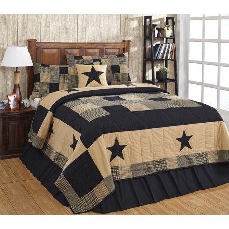 Jamestown Black and Tan Primitive Country Quilt Set - 3 Piece (Queen/Full (3 pc)) (Primitive Country Comforter Set)