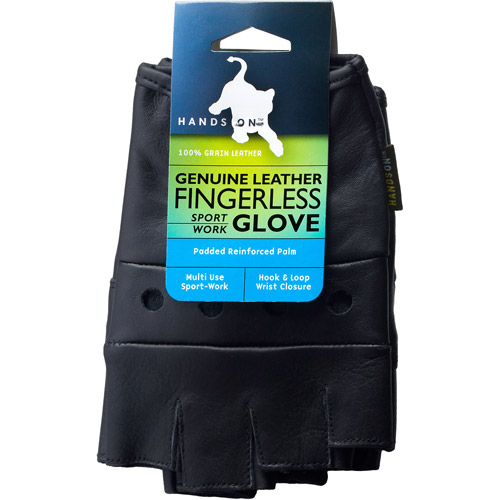 HANDS ON FL2250-M, Genuine Grain Leather Half Finger Glove by Hands On International, LLC