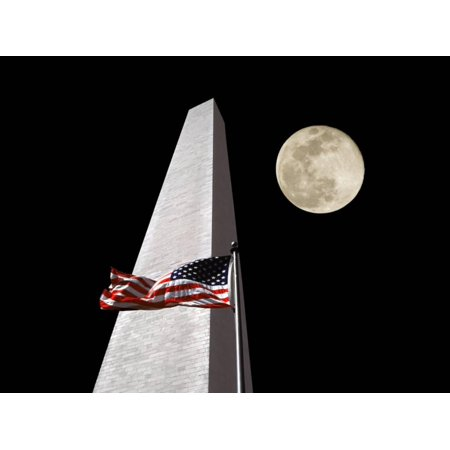 - Collage of the Washington Monument, American Flag, and Moon Print Wall Art By Diane Miller