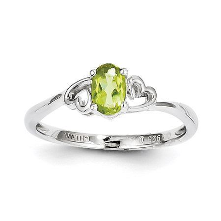 (Sterling Silver Peridot Ring. Gem Wt- 0.56ct)