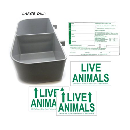 Kennel Travel Kit for Pets - Hook-On Dish & Live Animal Labels -LARGE size
