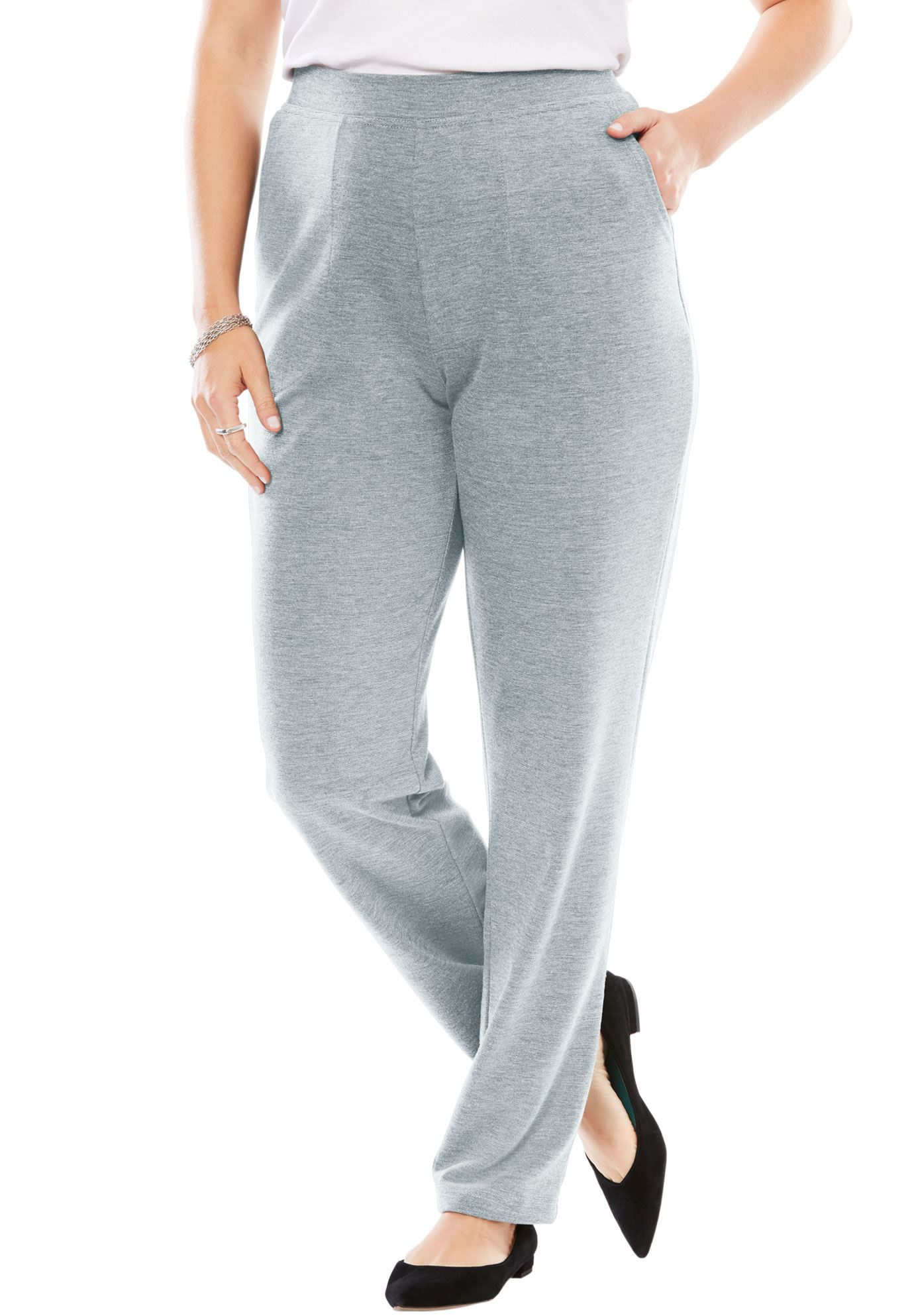 Woman Within Plus Size Tall Straight Leg Ponte Knit Pant