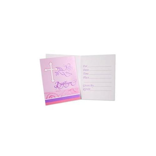Creative Converting 235601 Faithful Dove Pink Baptism Invitations