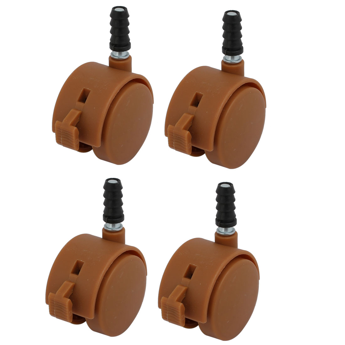 4pcs 2-inch Dia 7mm Stem Swivel Brake Caster Wheel Brown for Crib