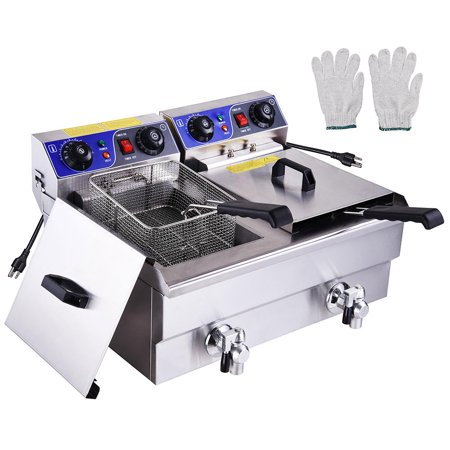 PNR 23.4L 3000W Commercial Electric Deep Fryer Countertop Dual Tanks with Timers and Drains Reset Button French Fry (Restaurant Equipment Fryers Filters)