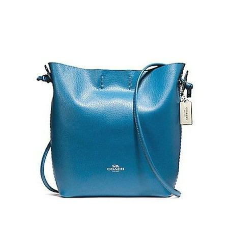 New Coach F58661 Mineral Blue Pebble Leather Derby Crossbody Handbag Bag