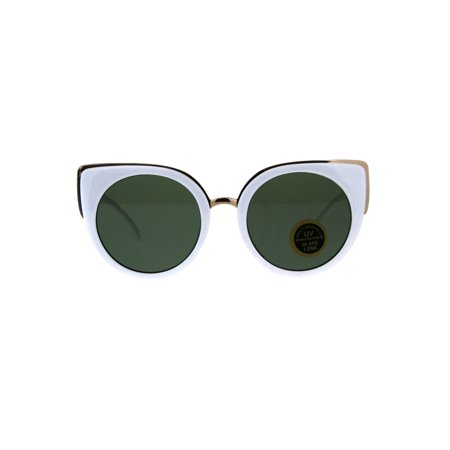 Womens Temper Glass Lens Round Circle Lens Cat Eye Mod Sunglasses White (Cat Eye Glasses Round Face)
